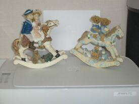 2 rocking horse ornaments
