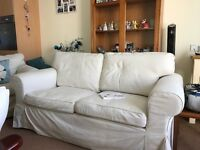 2 seater cream sofa and armchair