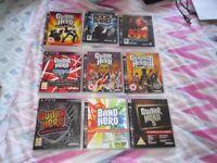 PS3 GAMES X 9,GUITAR HERO,LEGENDS OF ROCK,AEROSMITH,VAN HALEN ETC