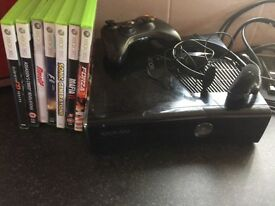 Xbox 360 with controller headset and 7 games