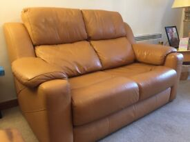 Tan leather G-Plan suite, 2x 2 seaters & armchair.