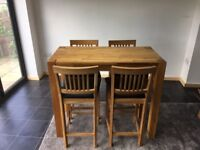 Stunning Wood pine Bar table and 4 Chairs
