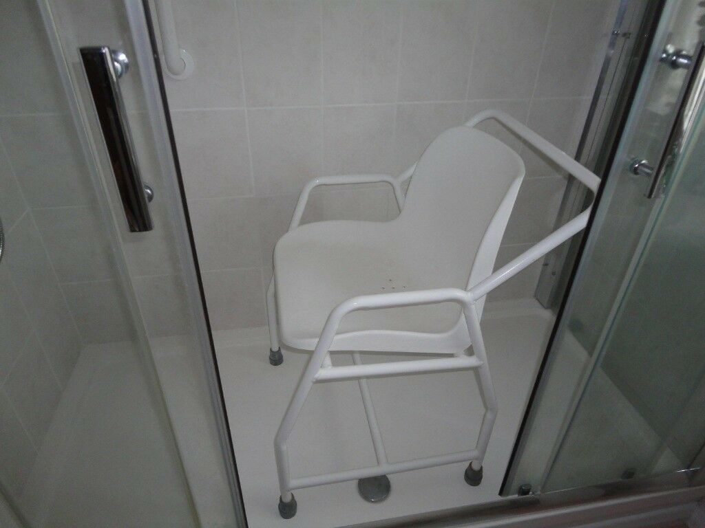 **Disability elderly shower chair, white plastic, metal frame, very good condition**