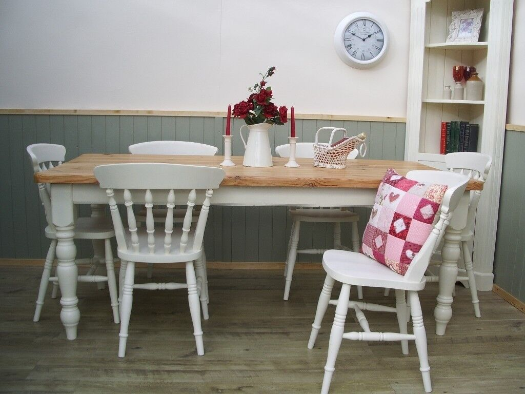 Stunning Pine Country Farmhouse 6ft Table and Chair Set.