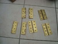 """HINGES - BRASS BUTT HINGES WITH DOUBLE STEEL WASHERS 4"""" AND CHROME BALL BEARING HINGES"""