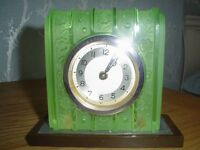 ANTIQUE FRENCH ART DECO GREEN GLASS CLOCK