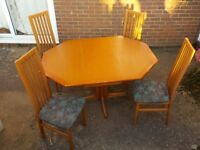 G Plan teak dining set - extending table and 4 upholstered chairs.