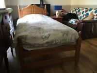 John Lewis single bed with Chest Of draws lampshade and mirror