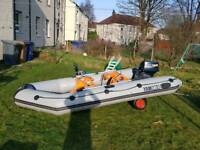 Yamaha 380s inflatable boat with 9.9h outboard