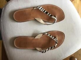LK Bennett leather zebra flipflops