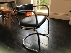 Vintage faux leather and chrome round dining chairs