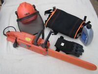 "Husqvarna 321 el Electric chain saw with 16"" bar plus safety gear"