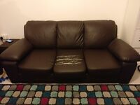FREE 3 seater faux brown leather sofa
