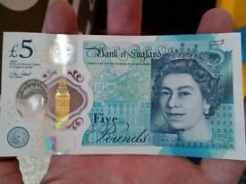 AA 5 pound note - mint