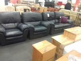 Blue leather Suite (2 Seater Recliner Sofa & 2 Armchairs ) at BHF Glasgow