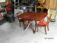 Duncan Pythe style drop leaf table and 2 chairs