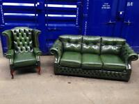 🔥🔥Genuine green antique leather chesterfield 2 piece suite! Immaculate 🎉🎉