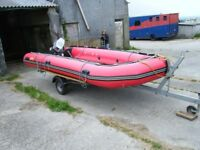 EXCEL 535 XHD Inflatable Boat, Trailer, and Outboard Engine
