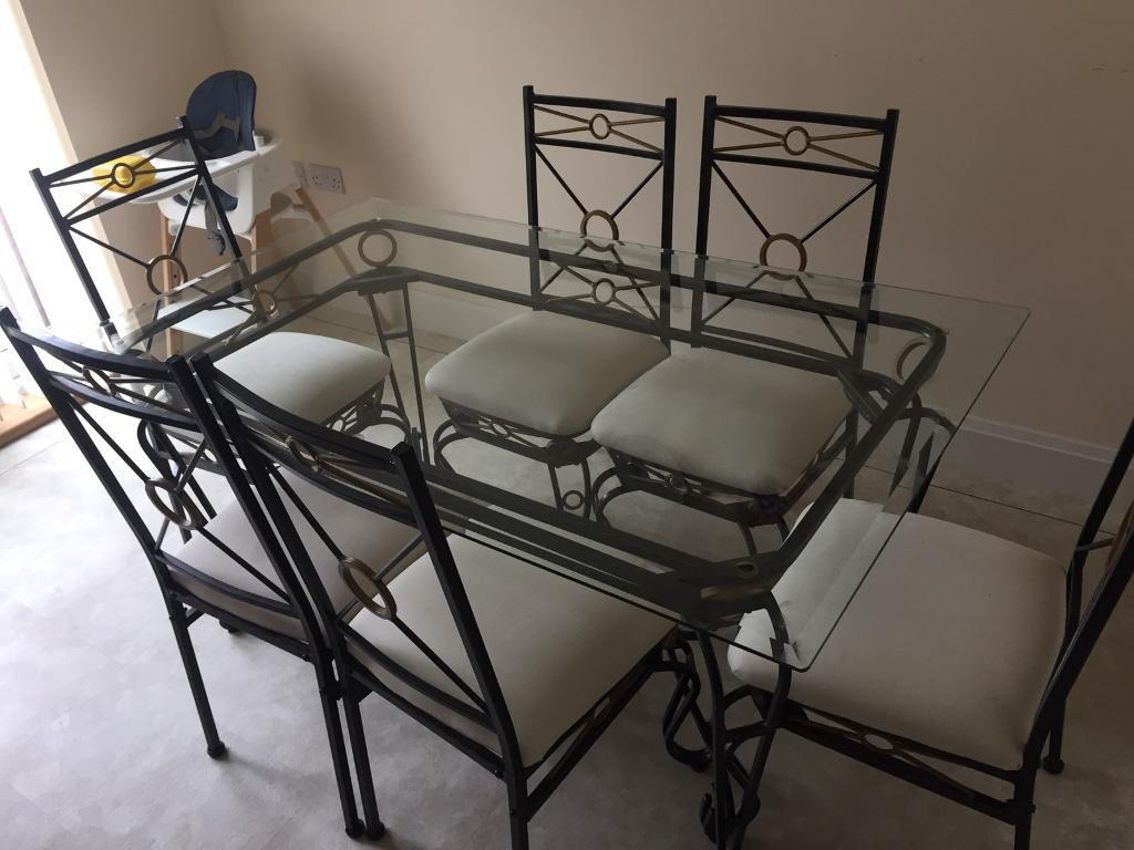 Wrought Iron Glass Top Dining Table And 6 Chairs
