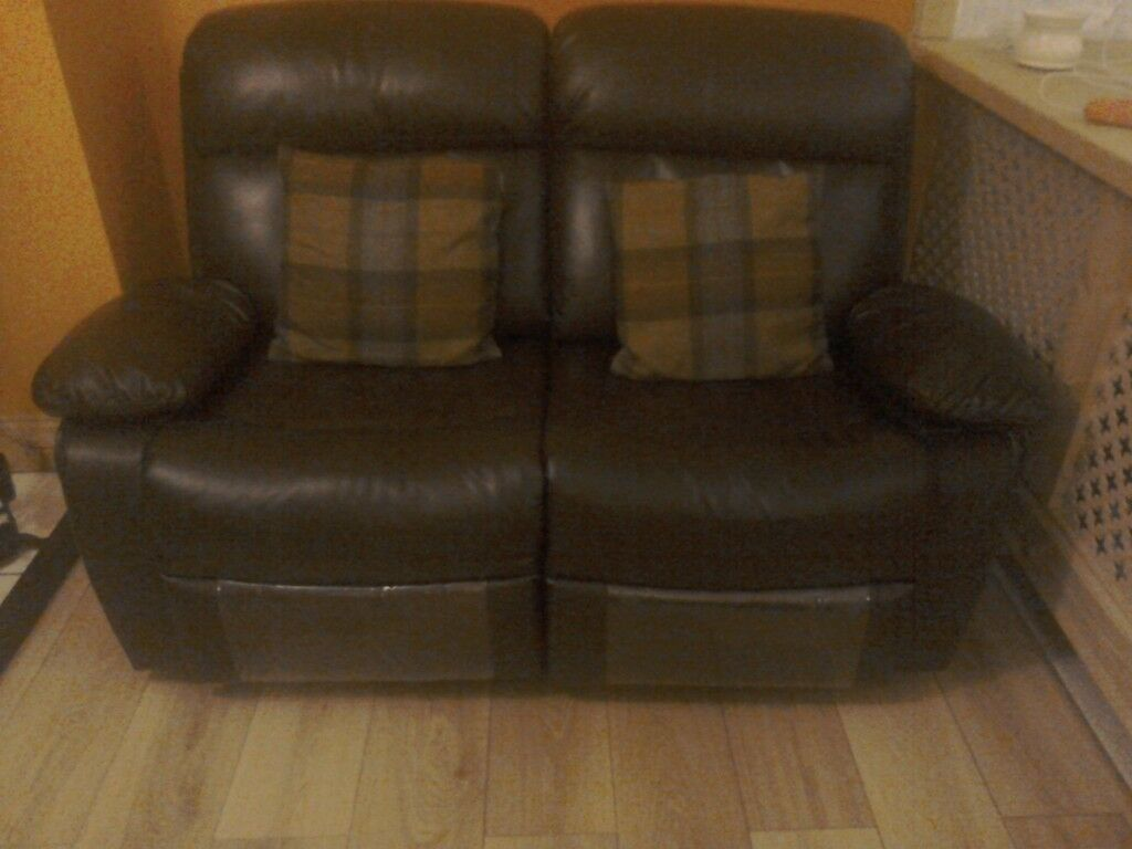 Brown Leather Reclining 2 Seater Sofa