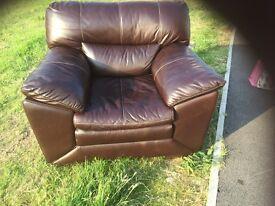 Brown Italian leather armchair