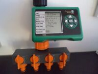 Programmable Electronic Water Timer With Four Way Manifold
