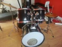Restored Complete ADULT/BEGINNER *7 PIECE DRUM KIT* Set Piece with new SKINS