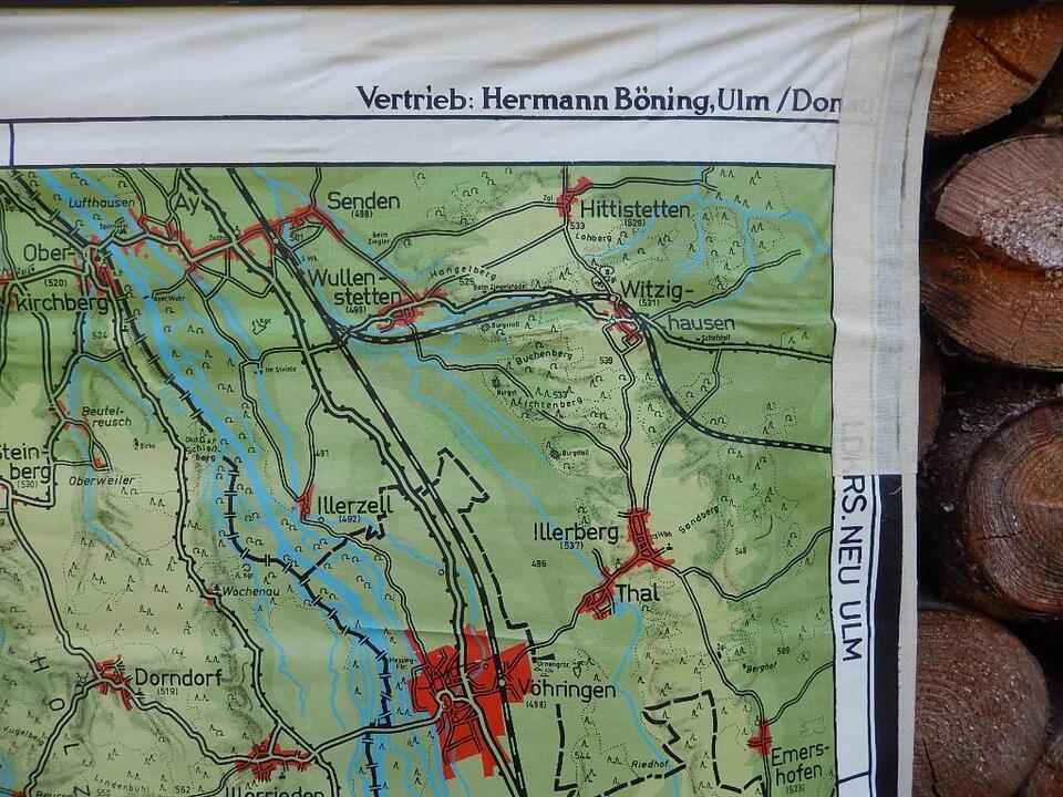 Alte Xxl Schulwandkarte Landkreis Biberach R Sparkasse Landkarte