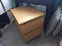 Ikea MALM chest of 2 drawers, oak veneer