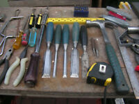 Joiners hand tools and large bag