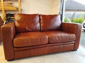 Brown leather 3 piece suite for sale