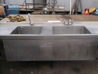 Very large commercial catering heated double pot wash sink