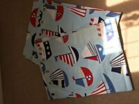 Children's curtains. Nautical theme. Blue with boats.