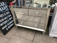 Mirrored Chest Of Drawers With Champagne Border