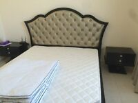 Black supper king size bed, 2 bedside tables, dressing table, supper king mattress and sheets