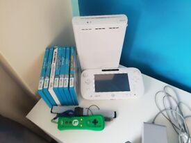 Wii U console, control pad, motion controller, sensor bar and assortment of x7 games