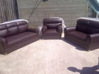 Leather 3 piece suite comprising of 3 & 2 Seater Sofas and armchair, Brand new and unused, can del.