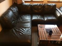 Brown Leather Corner Group Sofa for sale