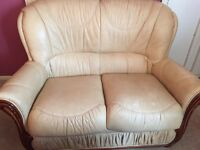 2 seater cream leather sofa with matching arm chair