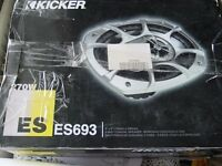 new boxed Kicker ES693 270 watts pair of speakers 6 x 9 inch & premium necom cable kit