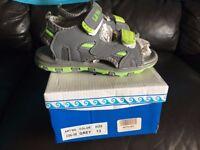 NEW Boys sandals shoes - size 13 UK - children size - Lil Fellas - Grey & Green