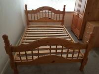 Double Wooden Bed, wardrobe and chest of drawers. Bedroom furniture for sale!