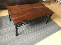 Solid Wood and Cast Iron Coffee Table