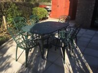 Olive Green Aluminium Patio Table 6 ft x 3 ft with 6 Chairs and Cushions