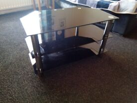 TV cabinet glass and chrome
