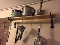 Cast Iron and wood pots and pans rack, with hooks for utensils - near new condition. Looks great!