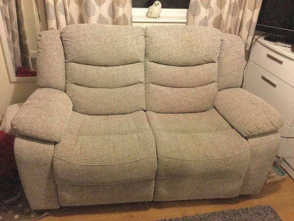 2 Seater Grayson Electric Recliner Sofa In Silver Fabric Is Very Good Condition