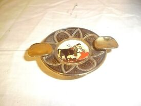 VINTAGE SPANISH BRASS TRAVEL ASHTRAY