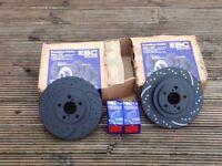 EBC Brake discs & pads front & rear for Subaru Impreza. Pads fit Skyline,200sx,300zx,3000gto
