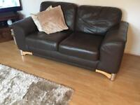 Genuine brown leather couch